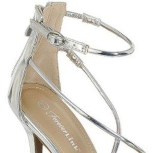 Forever Link Shoes - Silver Strappy Open Toe High Heels